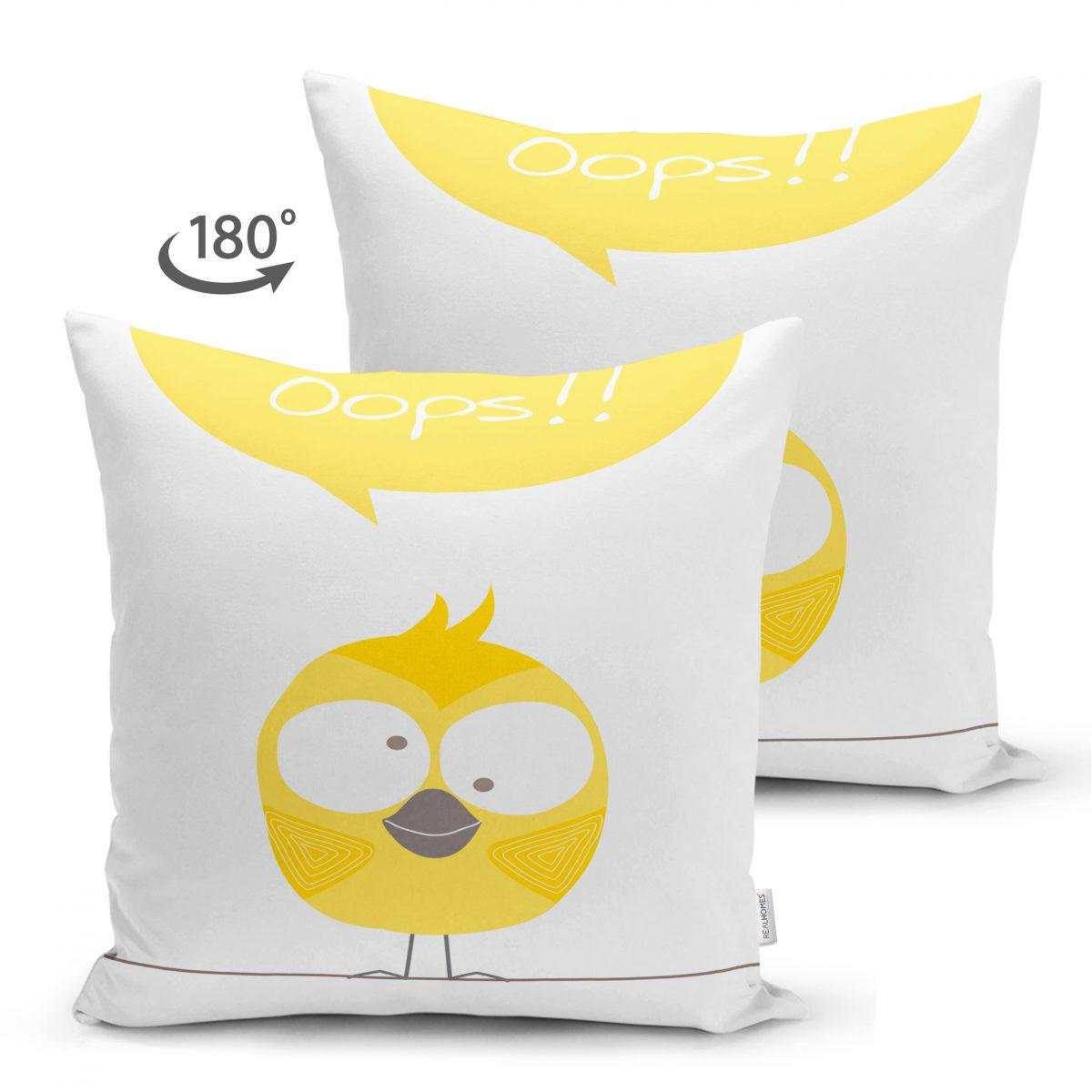 Çift Taraflı Sarı Kuş Motifli Dijital Baskılı Çocuk Odası Süet Yastık Kırlent Kılıfı Realhomes