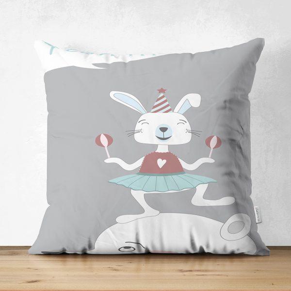 Çift Taraflı Sevimli Sirk Tavşanı Çocuk Odası Süet Yastık Kırlent Kılıfı Realhomes