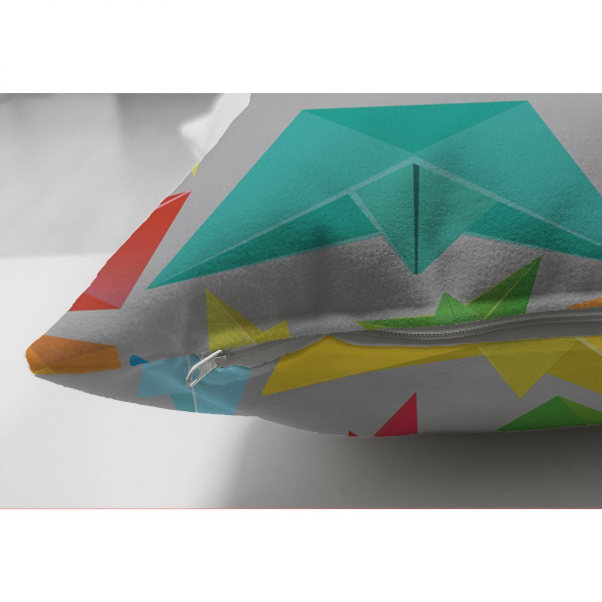 Realhomes Çift Taraflı Origami Gemiler Dijital Baskılı Modern Süet Yastık Kılıfı Realhomes