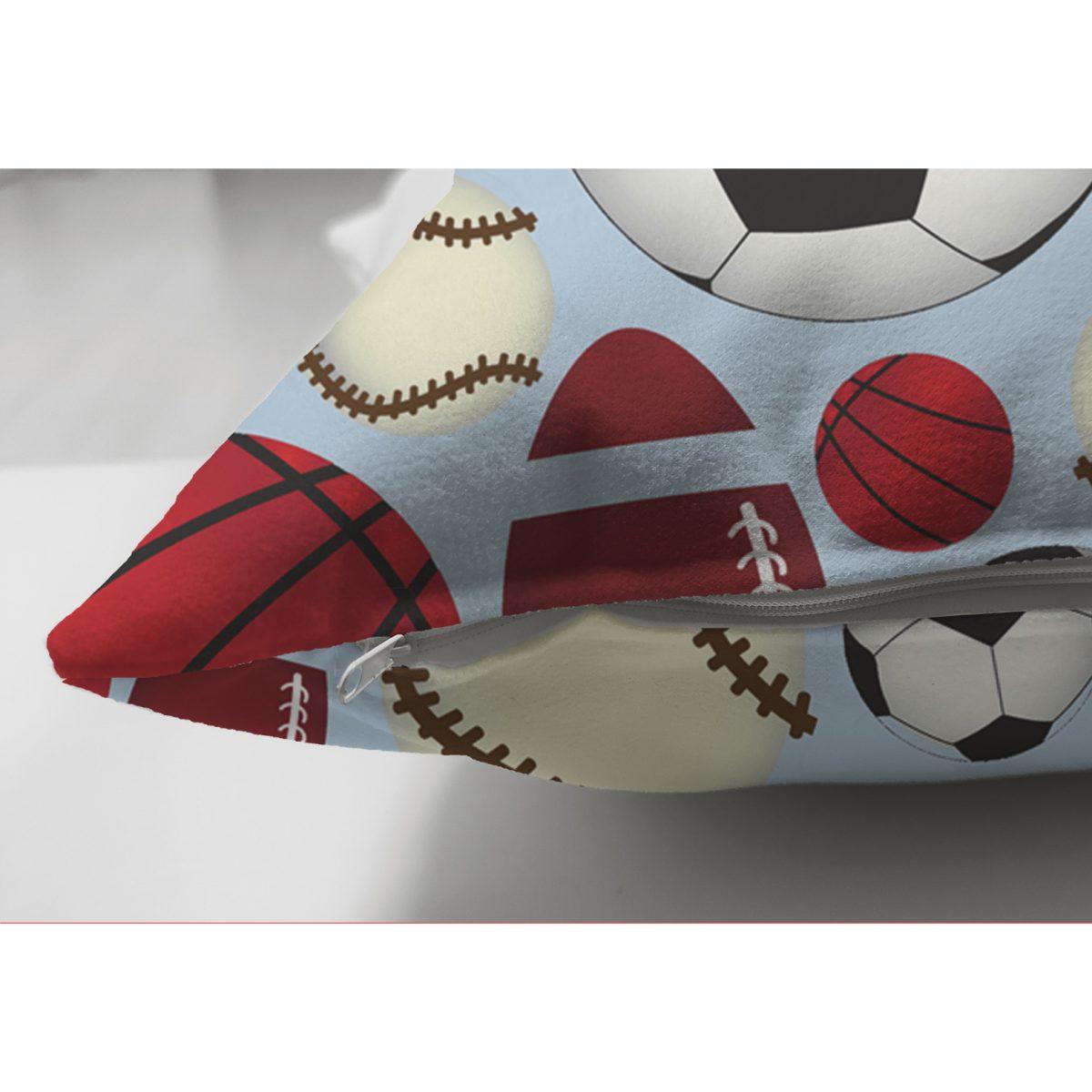 Realhomes Çift Taraflı Spor Topları Dijital Baskılı Modern Süet Yastık Kılıfı Realhomes