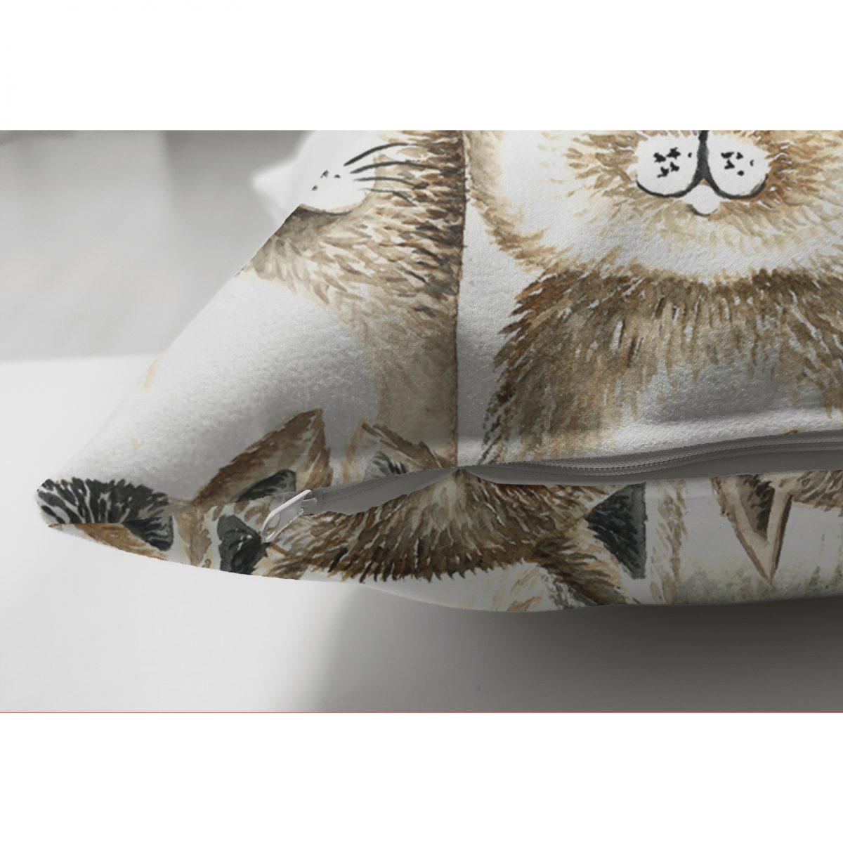 Realhomes Çift Taraflı Kedi Desenli Dijital Baskılı Modern Süet Kırlent Kılıfı Realhomes
