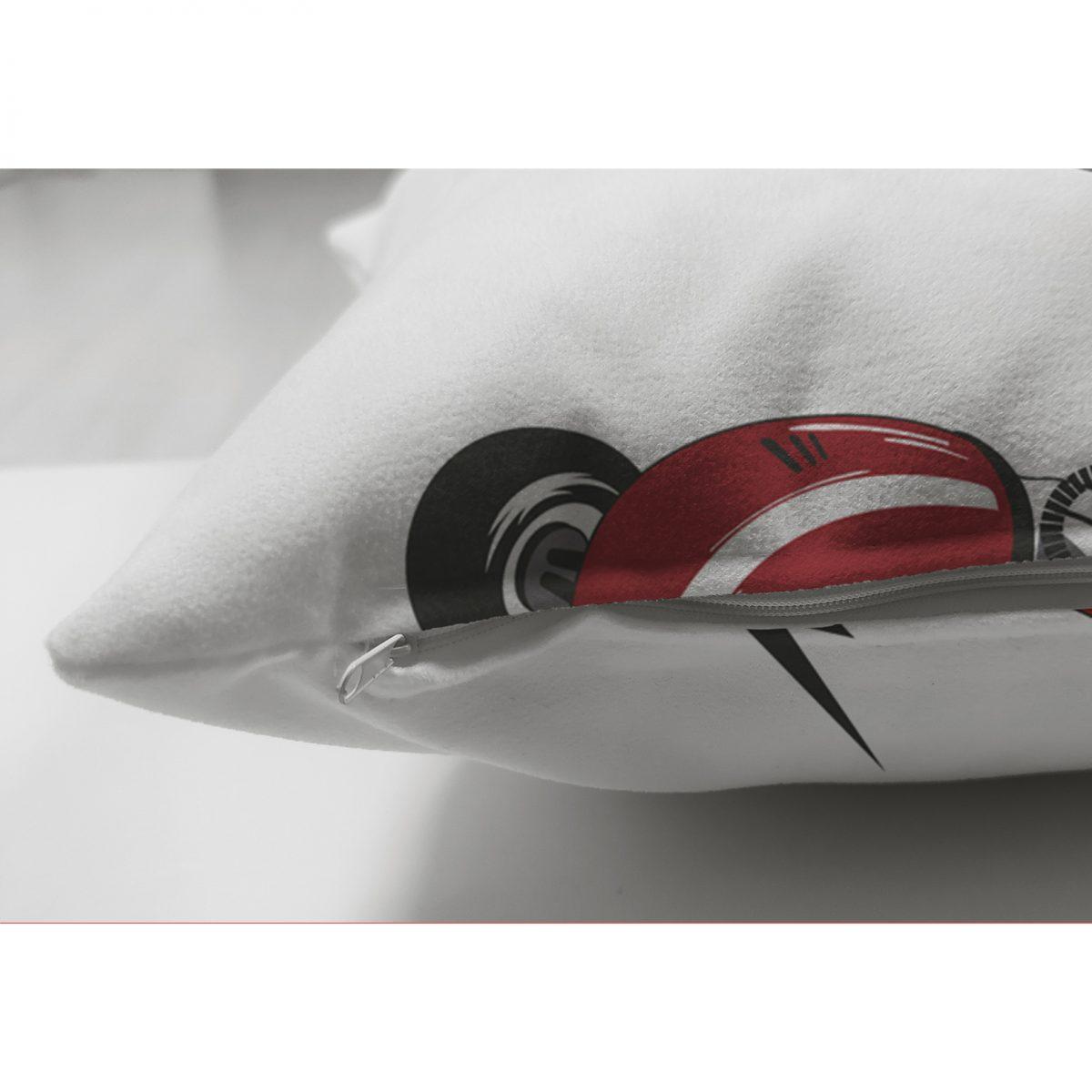 Realhomes Çift Taraflı Yarış Arabalı Dijital Baskılı Modern Süet Kırlent Kılıfı Realhomes