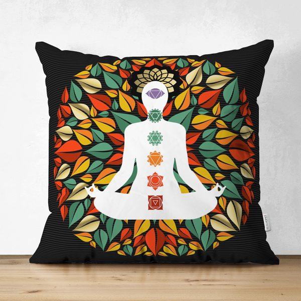Uzak Doğu Yoga Motifleri Mandalas Çift Taraflı Özel Tasarım Dijital Baskılı Süet Kırlent Kılıfı Realhomes