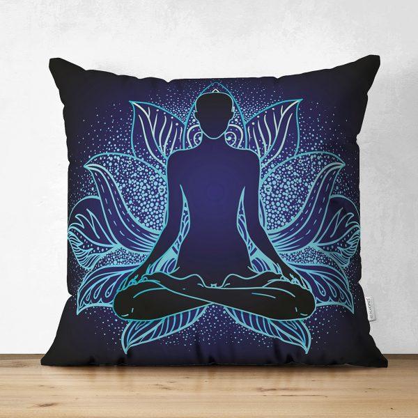Mavi Neon Motifli Yoga Desenli Çift Taraflı Özel Tasarım Süet Kırlent Kılıfı Realhomes