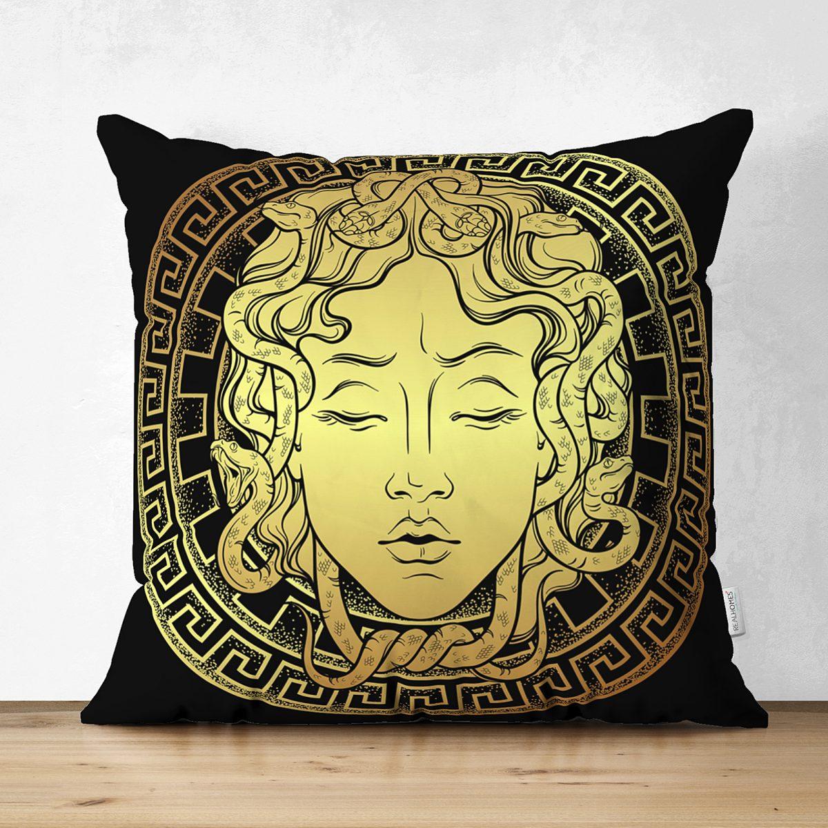 Realhomes Çift Taraflı Özel Tasarım Siyah Zeminde Gold Medusa Dekoratif Süet Kırlent Kılıfı Realhomes