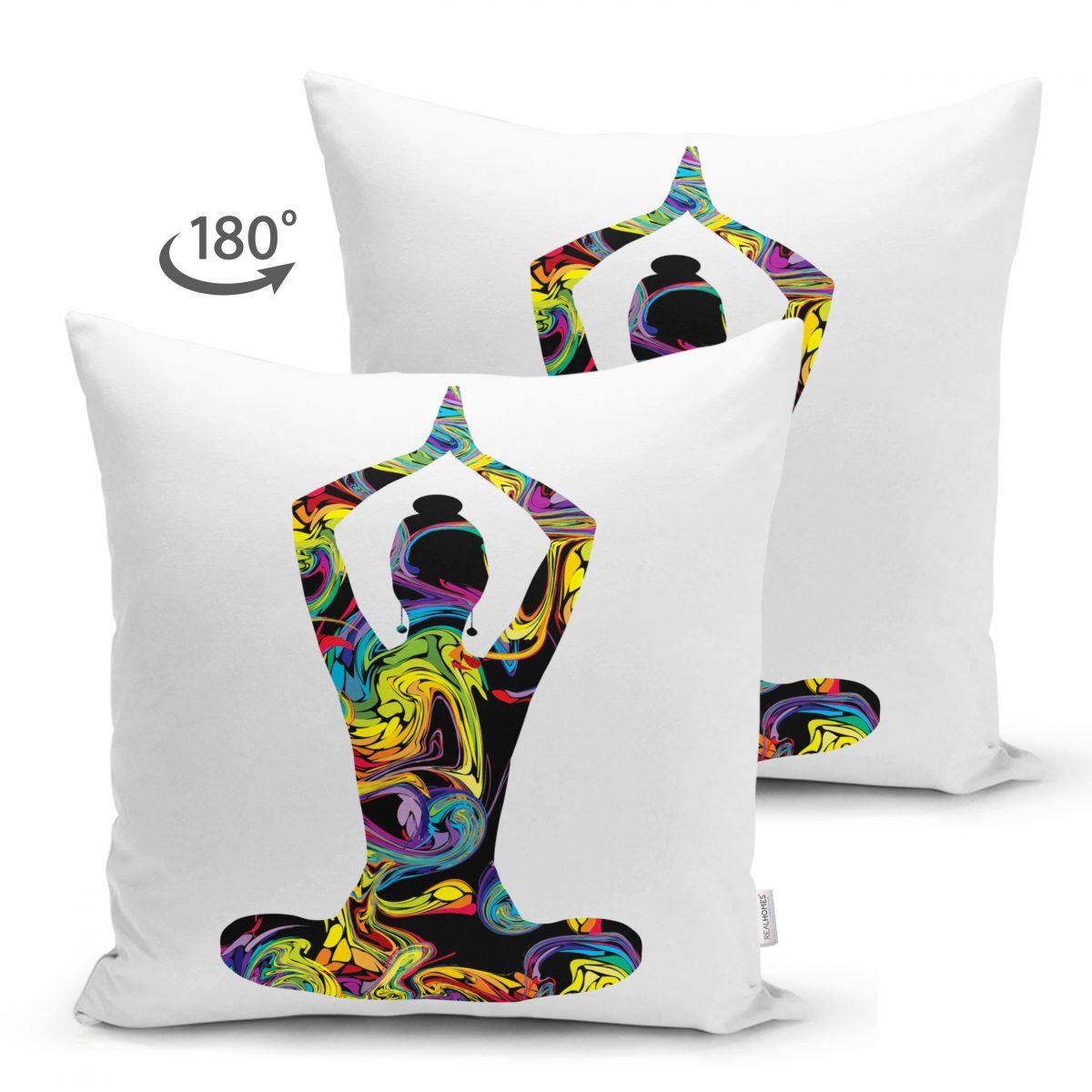 Çift Taraflı Beyaz Zeminde Gökkuşağı Yoga Desenli Süet Kırlent Kılıfı Realhomes