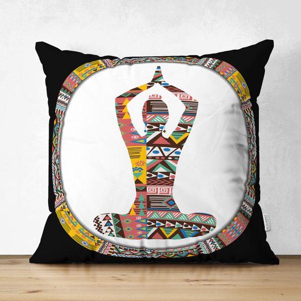 Siyah Zeminde Yoga Motifli Çift Taraflı Dekoratif Süet Yastık Kılıfı Realhomes