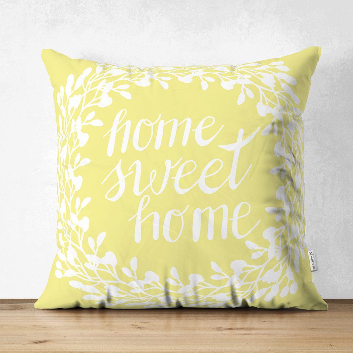 Home Sweet Home Dijital Baskılı Çift Taraflı Dekoratif Süet Yastık Kırlent Kılıfı Realhomes