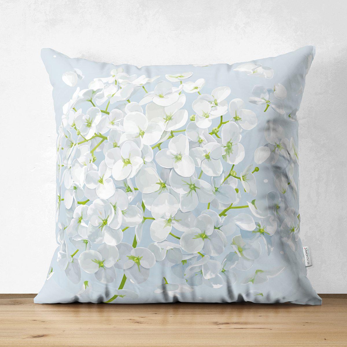 Mavi Zeminde Beyaz Ortanca Çiçeği Çift Taraflı Dijital Baskılı Süet Kırlent Kılıfı Realhomes