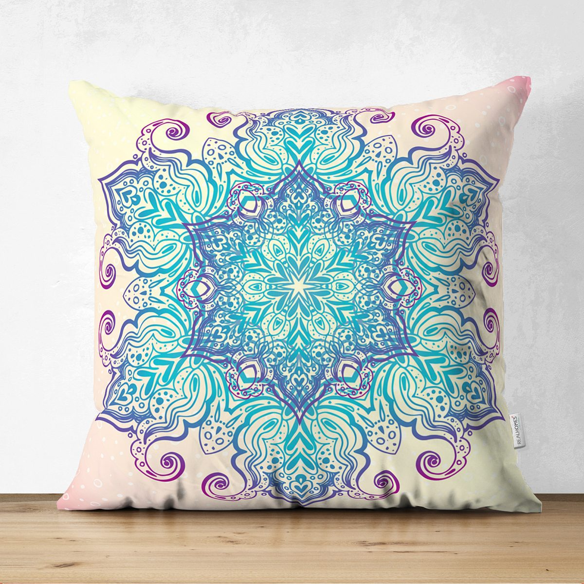 Pembe Zeminde Mavi Mandala Çizimli Modern Çift Taraflı Süet Yastık Kılıfı Realhomes