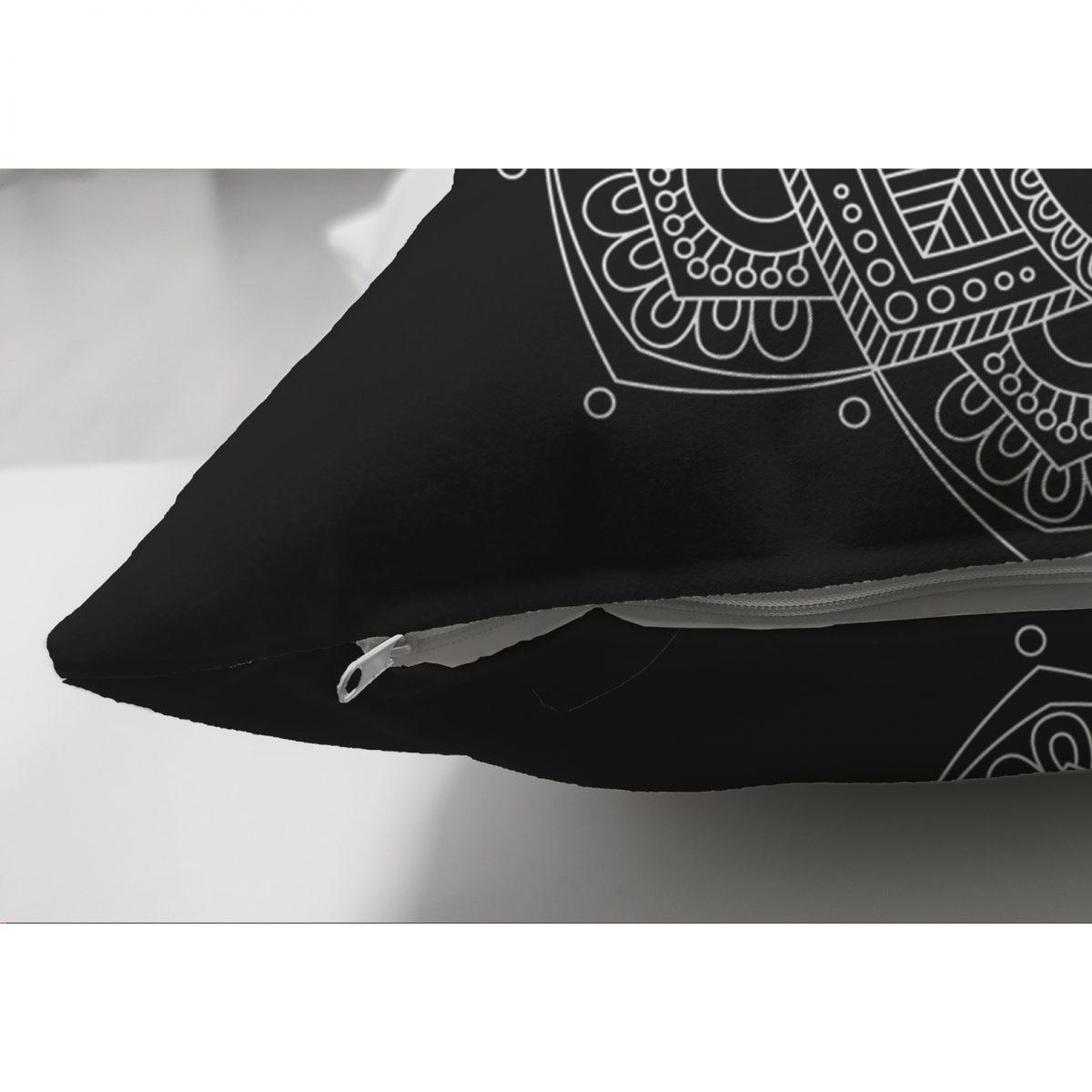 Siyah Zeminde Beyaz Mandala Desenli Çift Taraflı Dekoratif Süet Yastık Kılıfı Realhomes