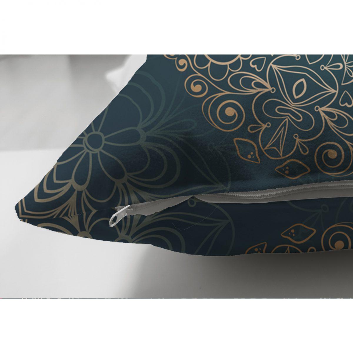 Lacivet Desenli Gold Mandla Motifli Çift Taraflı Dekoratif Süet Yastık Kılıfı Realhomes