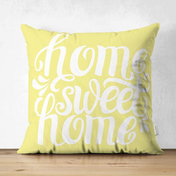 Home Sweet Home Çift Taraflı Dijital Baskılı Dekoratif Süet Yastık Kırlent Kılıfı Realhomes