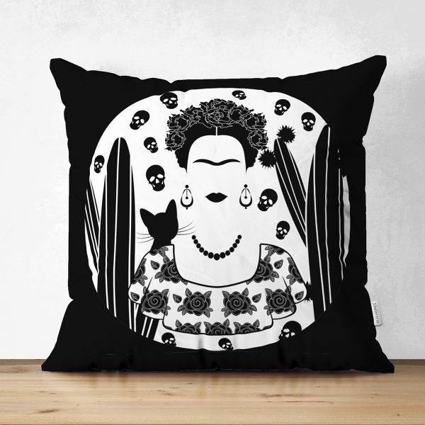 Realhomes Çift Taraflı Black Frida Kahlo Basklı Süet Yastık Kılıfı Realhomes
