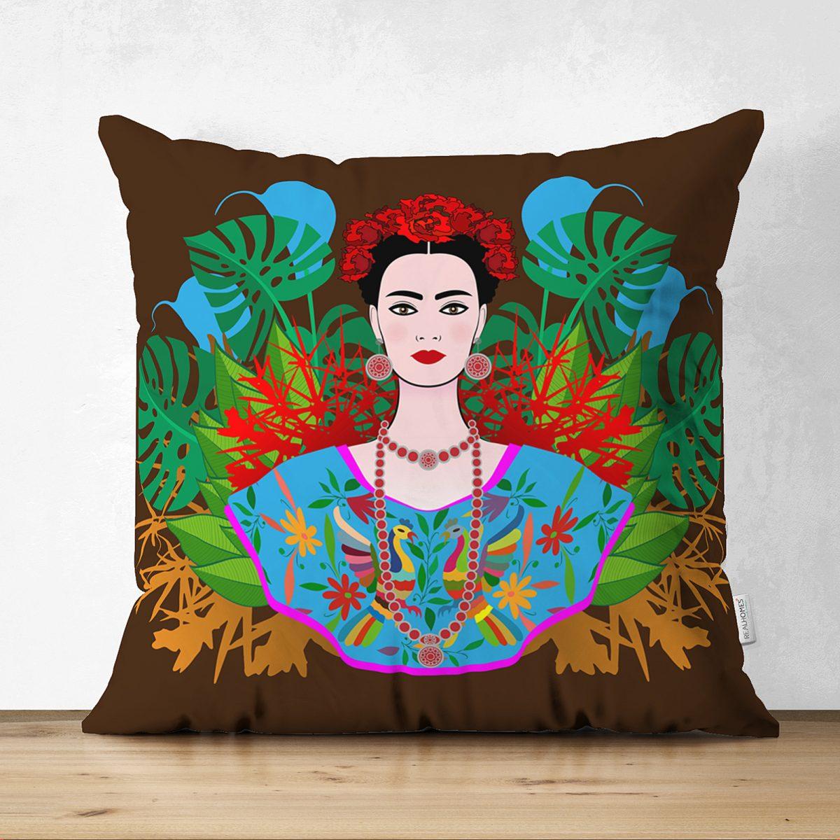 Kahverengi Zeminde Çift Taraflı Özel Tasarım Frida Kahlo Dijital Baskılı Süet Kırlent Kılıfı Realhomes