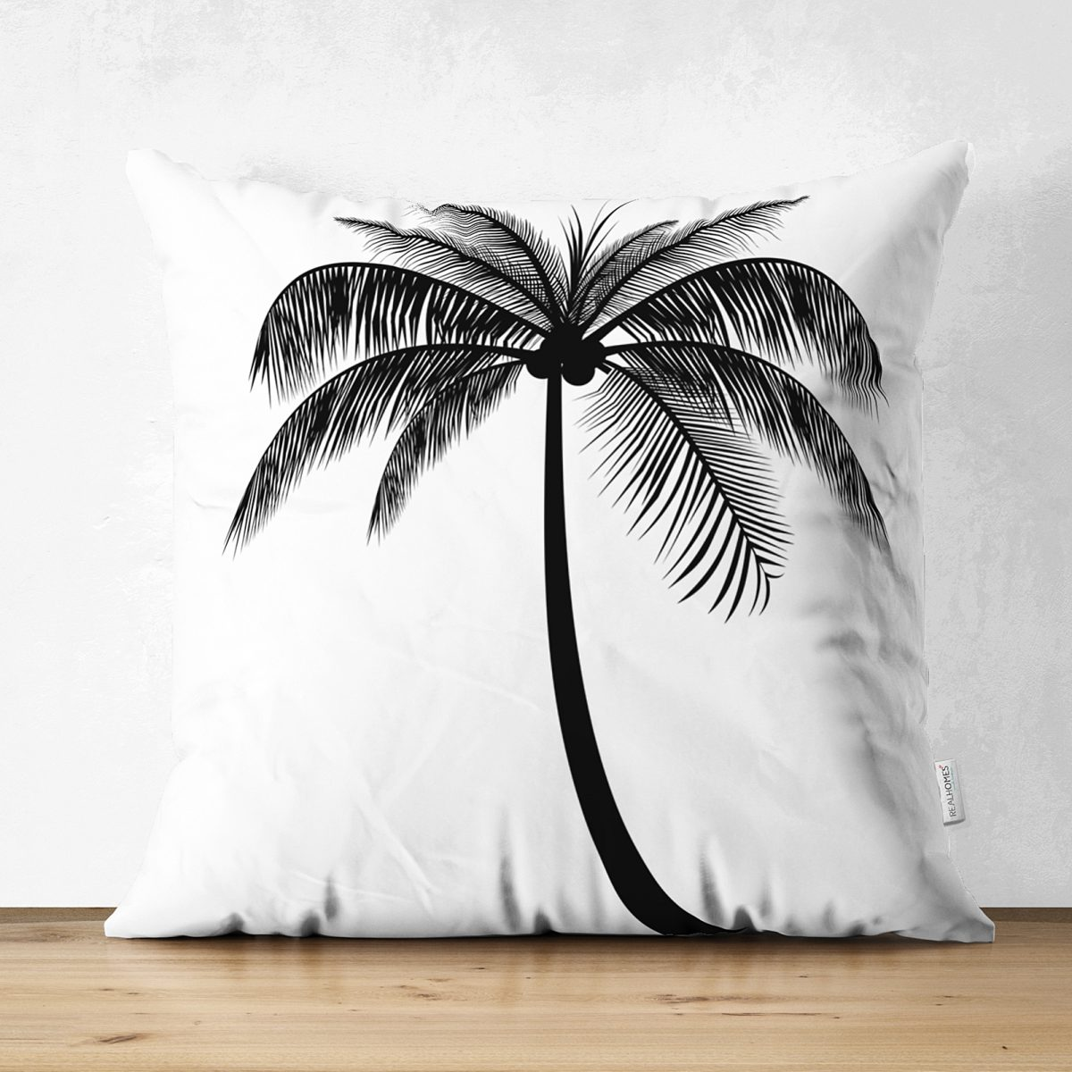 Beyaz Zeminde Siyah Palmiye Desenli Çift Taraflı Özel Tasarım Süet Yastık Kılıfı Realhomes