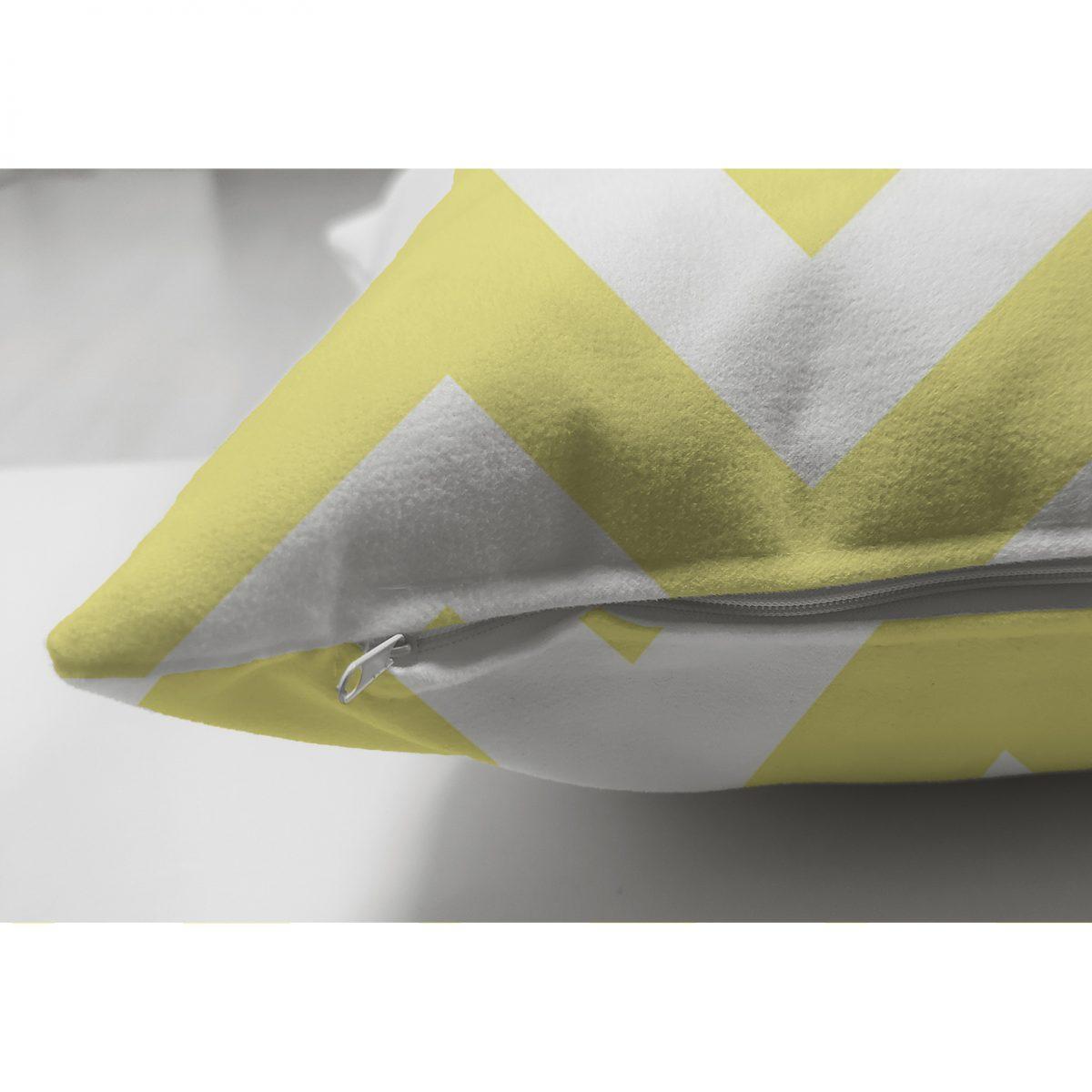 Modern Zigzag Desenli Çift Taraflı Dijital Baskılı Dekoratif Süet Yastık Kırlent Kılıfı Realhomes