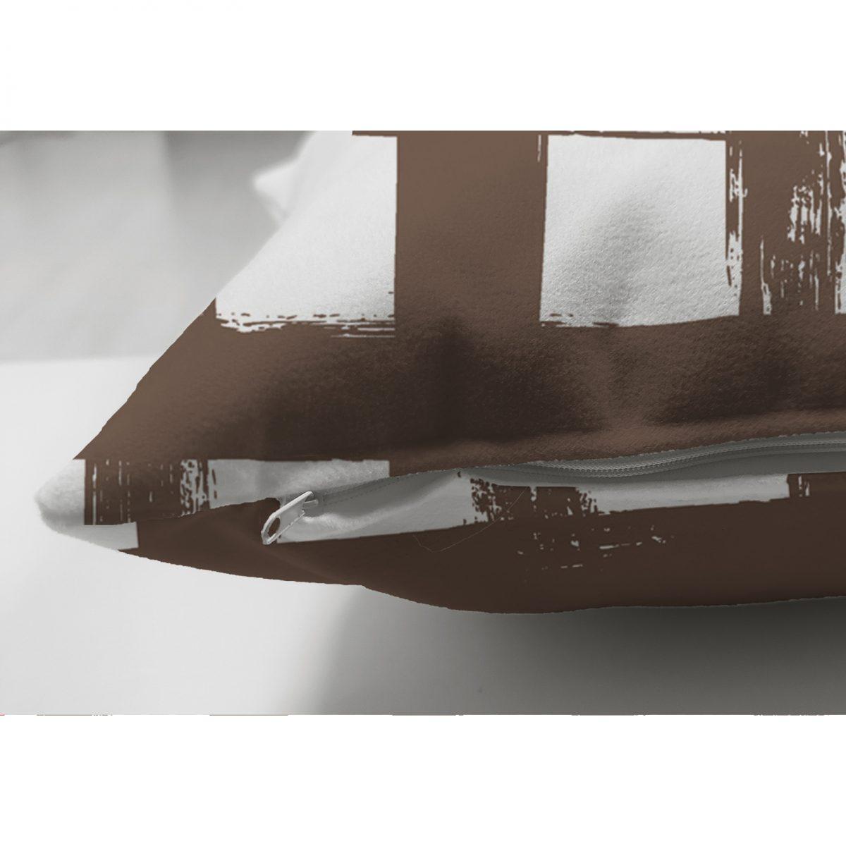 Kahve Zeminde Geometrik Kare Motifli Çift Taraflı Dekoratif Süet Yastık Kılıfı Realhomes