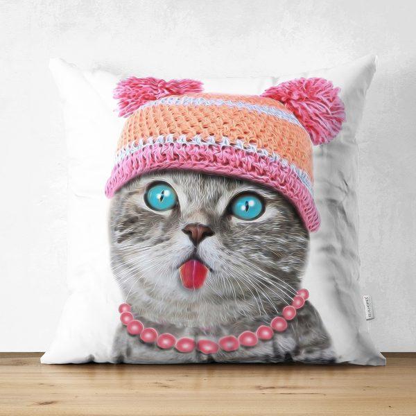 Şapkalı Mavi Gözlü Sevimli Kedi Dijital Baskılı Çift Taraflı Süet Kırlent Kılıfı Realhomes