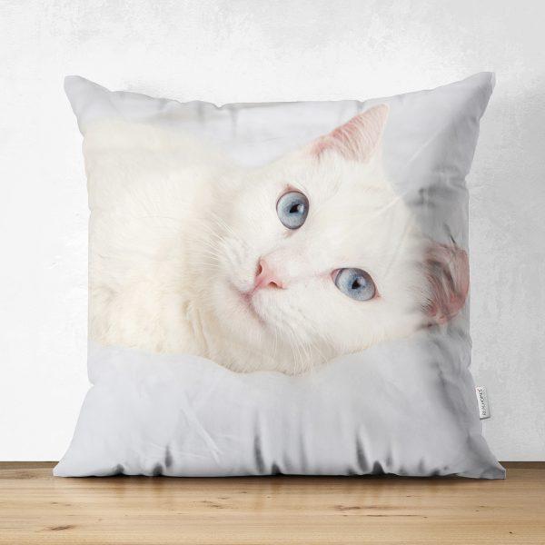 Sevimli Kedi Desenli Dijital Baskılı Modern Çift Taraflı Süet Yastık Kırlent Kılıfı Realhomes