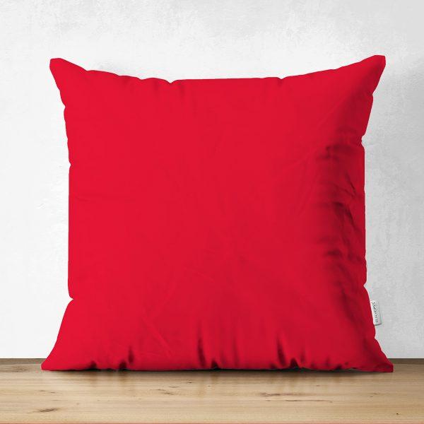 Çift Taraflı Kırmızı Renkli Dijital Baskılı Dekoratif Süet Yastık Kırlent Kılıfı Realhomes