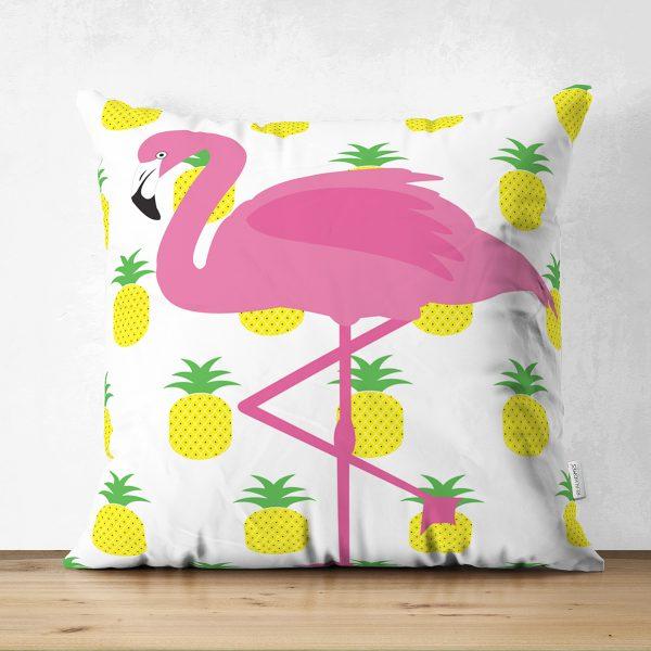 Ananaslar ve Flamingo Tasarımlı Çift Taraflı Dijital Baskılı Modern Süet Yastık Kırlent Kılıfı Realhomes