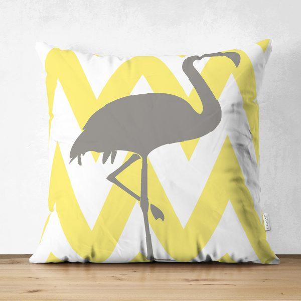 Çift Taraflı Sarı Gri Zigzaglar ve Flamingo Desenli Süet Yastık Kırlent Kılıfı Realhomes