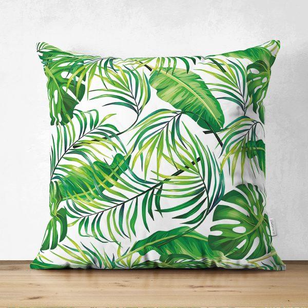 Çift Taraflı Beyaz Zeminde Yeşil Yapraklar Tasarımlı Modern Süet Yastık Kırlent Kılıfı Realhomes