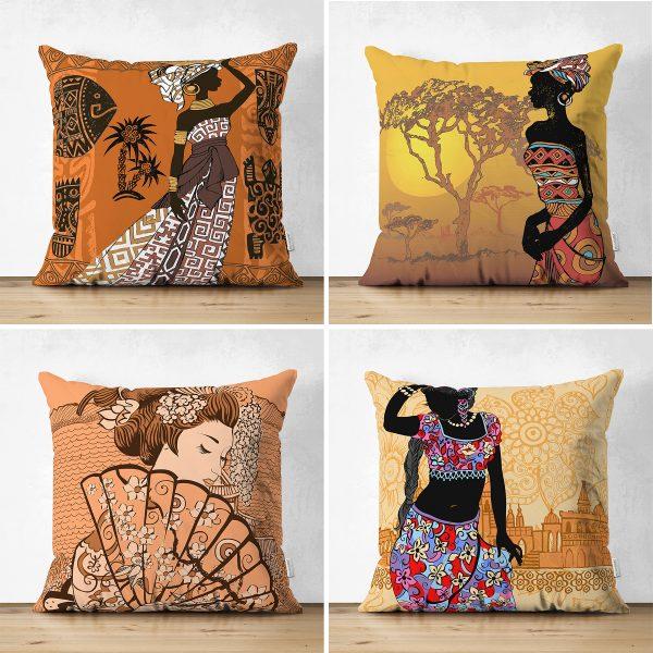 Çift Taraflı Etnik Afrika Women Desenli 4'Lü Süet Kırlent Kılıf Seti Realhomes