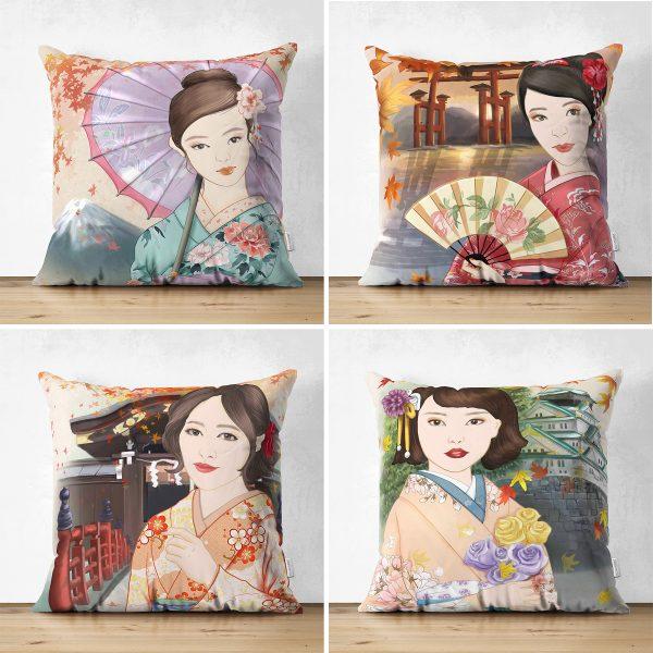 Çift Taraflı Sulu Boya Japon Kızlar Tasarımlı 4'Lü Süet Kırlent Kılıf Seti Realhomes