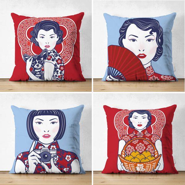 Çift Taraflı Kırmızı Ve Mavi Japon Kız Tasarımlı Dekoratif 4'Lü Süet Kırlent Kılıf Seti Realhomes