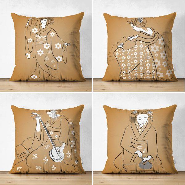 Çift Taraflı Japon Sanatı Tasarımlı 4'Lü Süet Kırlent Kılıf Seti Realhomes