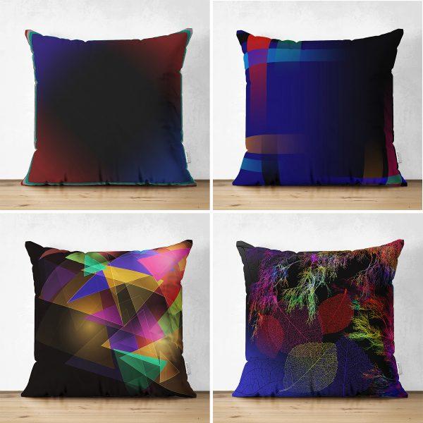 Çift Taraflı Renkli Geometrik Tasarımlı Modern 4'Lü Süet Kırlent Kılıf Seti Realhomes