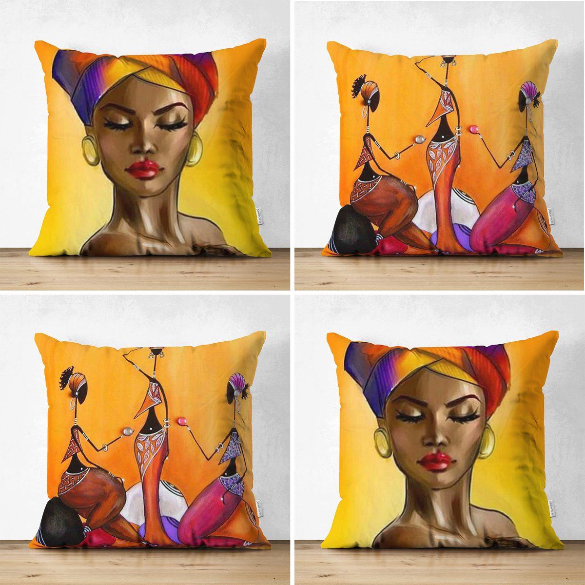Realhomes Çift Taraflı Afrika Bayan Motifli 4'lü Modern Süet Yastık Kılent Kılıf Seti Realhomes