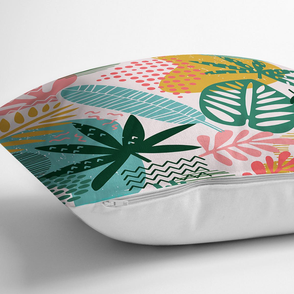 Soyut Renkli Yaprak Motifli Dijital Baskılı Modern Yastık Kırlent Kılıfı Realhomes
