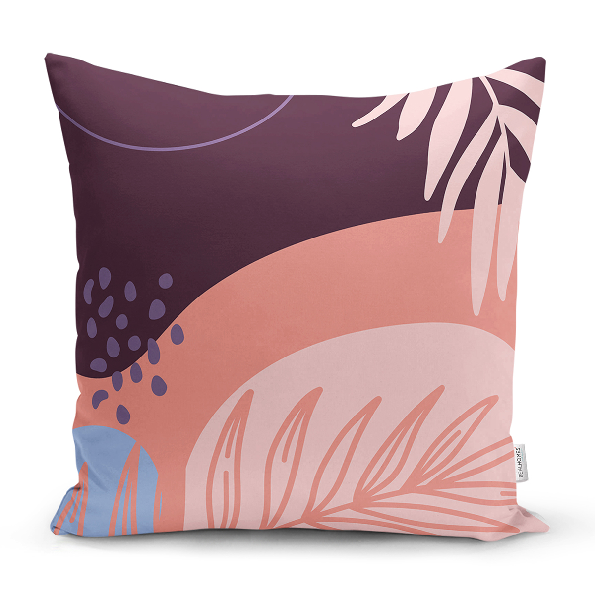 Soyut Renkli Zeminde Bohem Çiçek Motifli Dijital Baskılı Modern Yastık Kılıfı Realhomes