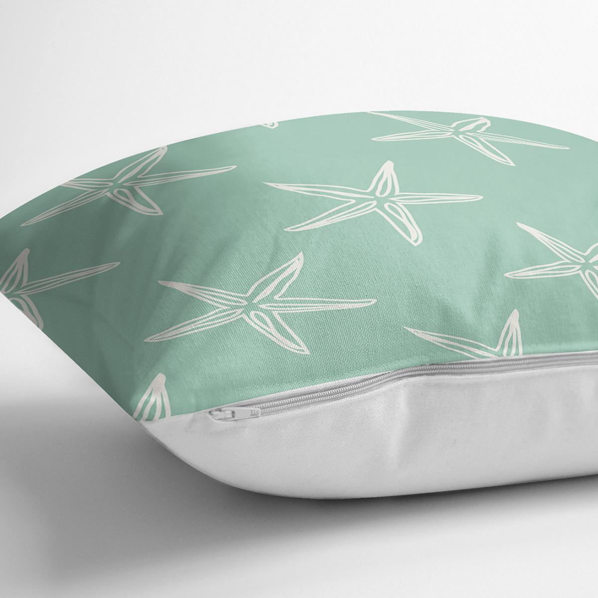 Yeşil Zeminde Krem Deniz Yıldızı Tasarımlı Dijital Baskılı Modern Yastık Kılıfı Realhomes