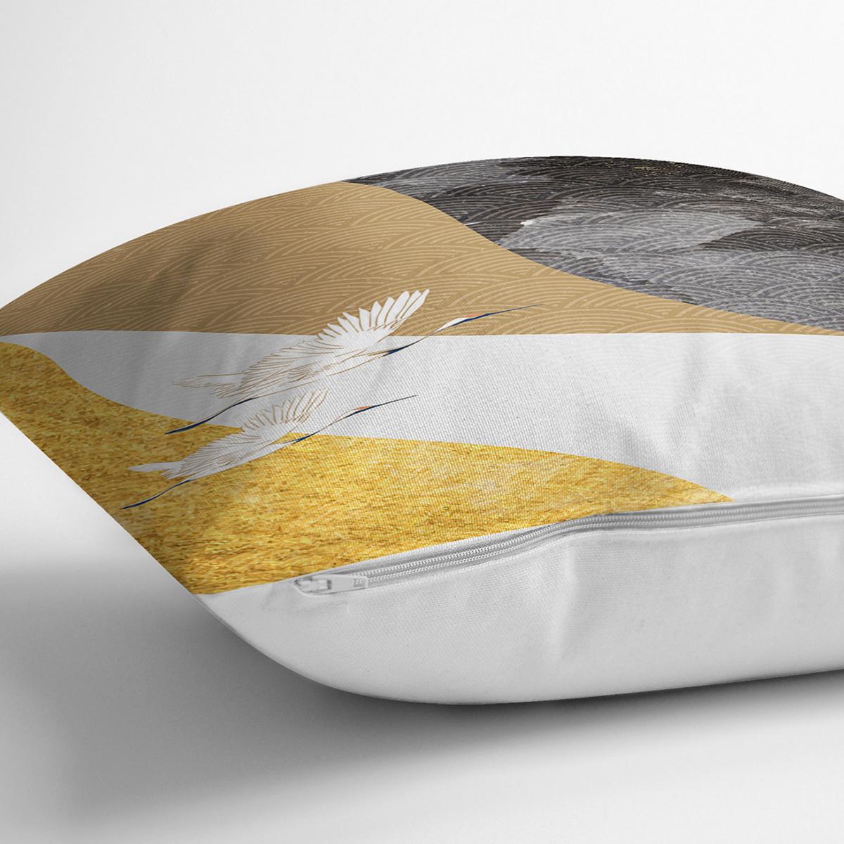 Renkli Zeminde Leylek Desenli Dijital Baskılı Modern Yastık Kırlent Kılıfı Realhomes