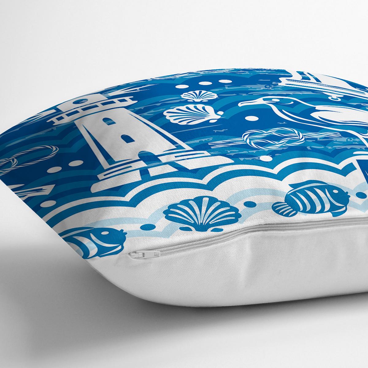 Mavi Beyaz Zeminli Yelken Desenli Dijital Baskılı Modern Yastık Kırlent Kılıfı Realhomes