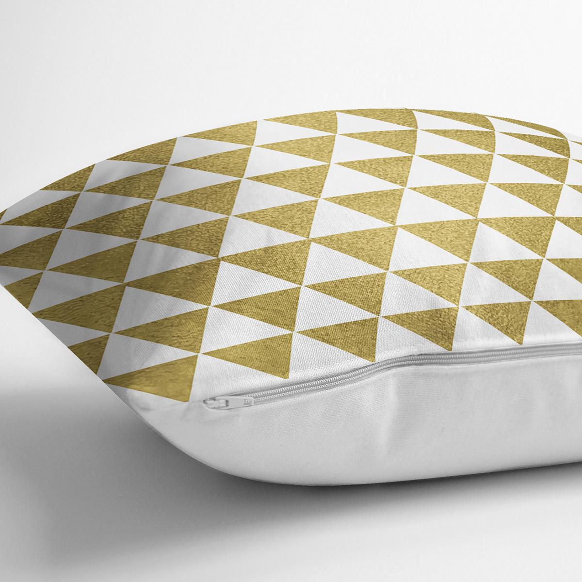 Beyaz Zeminde Gold Üçgen Desenli Dijital Baskılı Modern Yastık Kırlent Kılıfı Realhomes