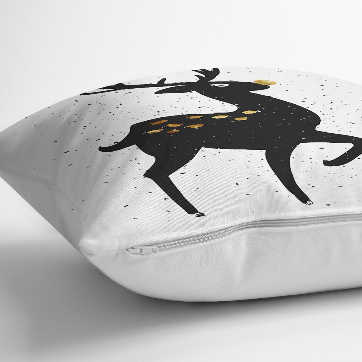 Beyaz Zeminde Siyah Renkli Geyik Desenli Dijital Baskılı Modern Yastık Kılıfı Realhomes