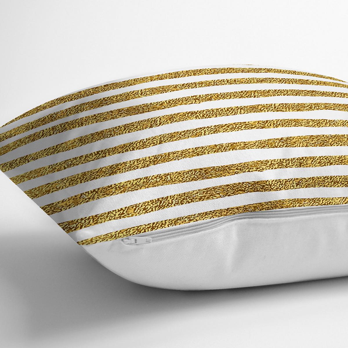 Beyaz Zeminde Gold Zigzag Desenli Dijital Baskılı Modern Yastık Kırlent Kılıfı Realhomes