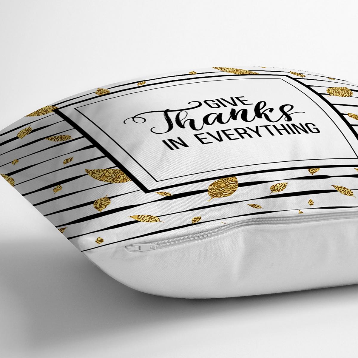 Beyaz Zeminde Gold Yapraklı Thanks Yazılı Yastık Kırlent Kılıfı Realhomes