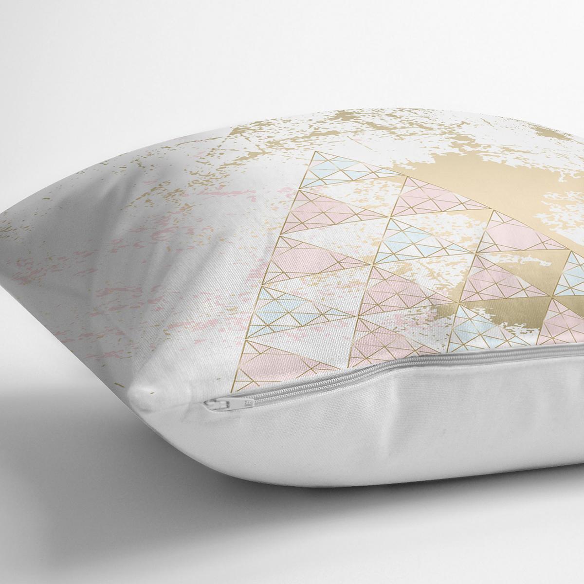 Renkli Zemin Üzerinde Üçgen Desenli Dijital Baskılı Modern Yastık Kırlent Kılıfı Realhomes
