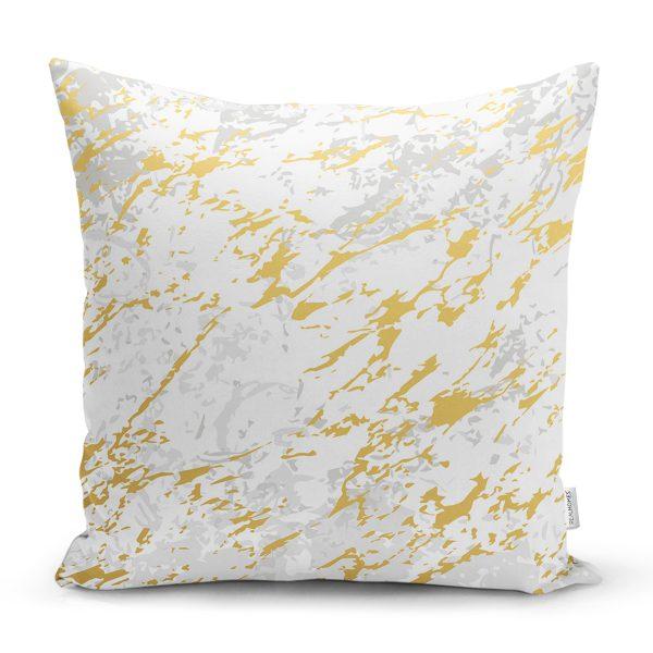 Gri Beyaz Zeminde Gold Detaylı Çizim Dijital Baskılı Modern Yastık Kırlent Kılıfı Realhomes