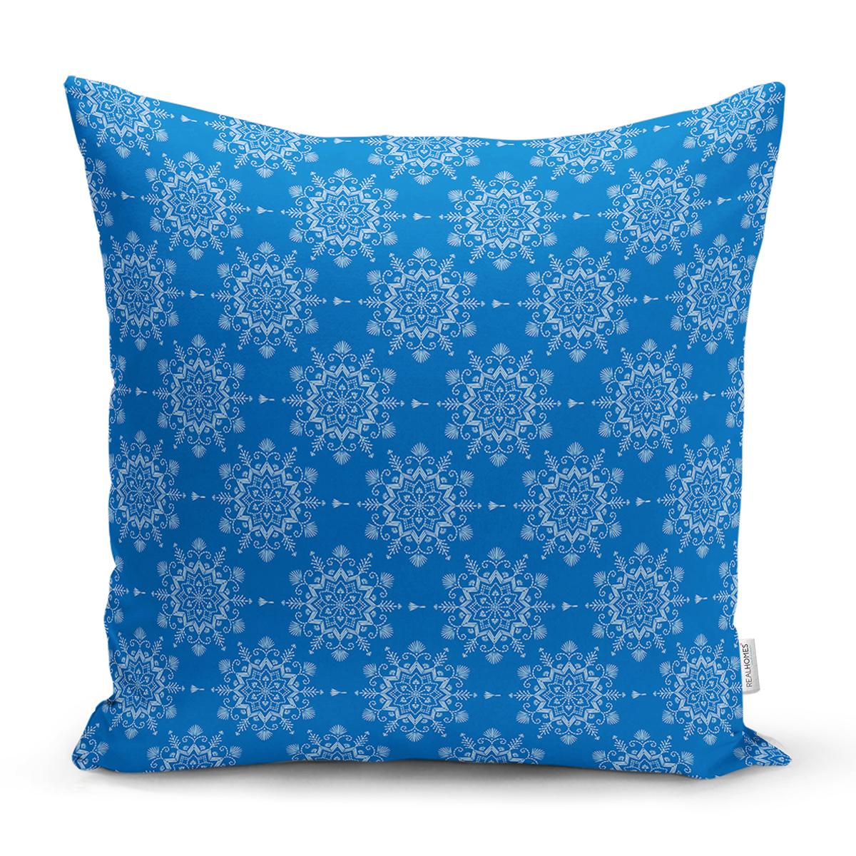 Mavi Zeminli Kartanesi Desenli Dijital Baskılı Modern Yastık Kırlent Kılıfı Realhomes