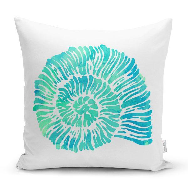 Beyaz Zeminde Yeşil Renkli Deniz Kabuğu Desenli Modern Yastık Kırlent Kılıfı Realhomes