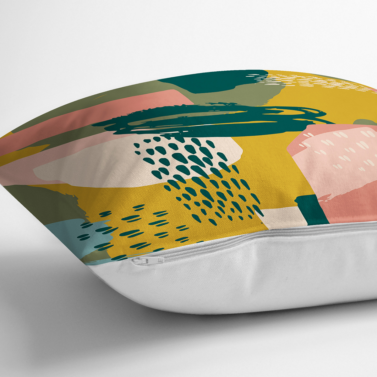 Renki Zemin Üzerinde Onedraw Çizimli Dijital Baskılı Modern Yastık Kırlent Kılıfı Realhomes