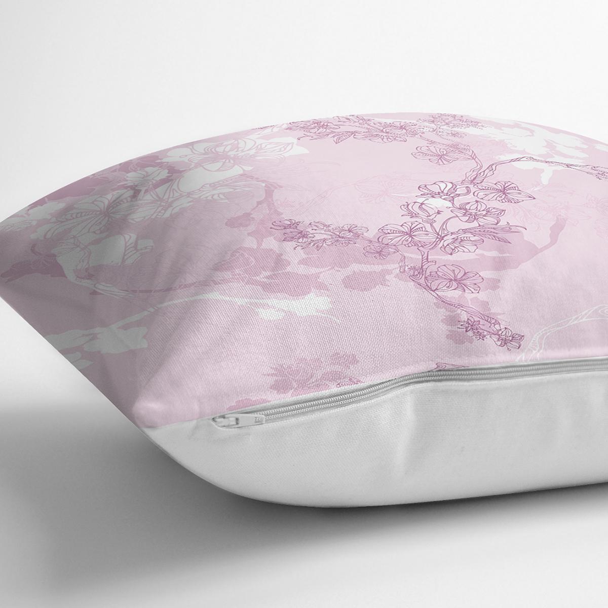 Pembe Zemin Üzerinde Sarmaşık Desenli Dijital Baskılı Modern Yastık Kırlent Kılıfı Realhomes