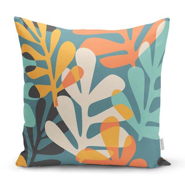 Renkli Zemin Üzerinde Onedraw Çizimli Yaprak Motifli Yastık Kırlent Kılıfı Realhomes